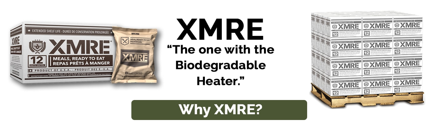XMRE meals with the biodegradable meal heater