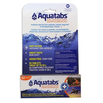 a package of 50, 1 litre Aquatabs