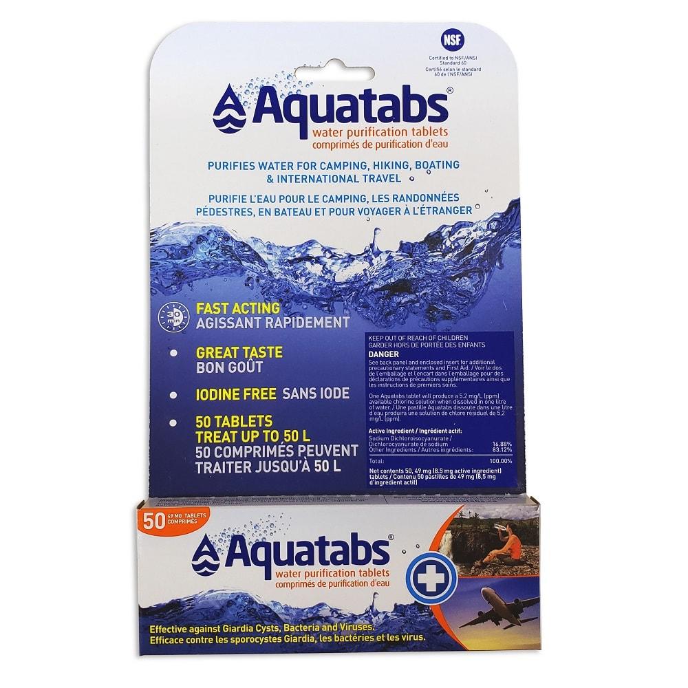 a package of 50, 1 litre Aquatabs