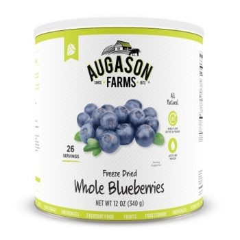 A can of freeze dried blueberries from Augason Farms