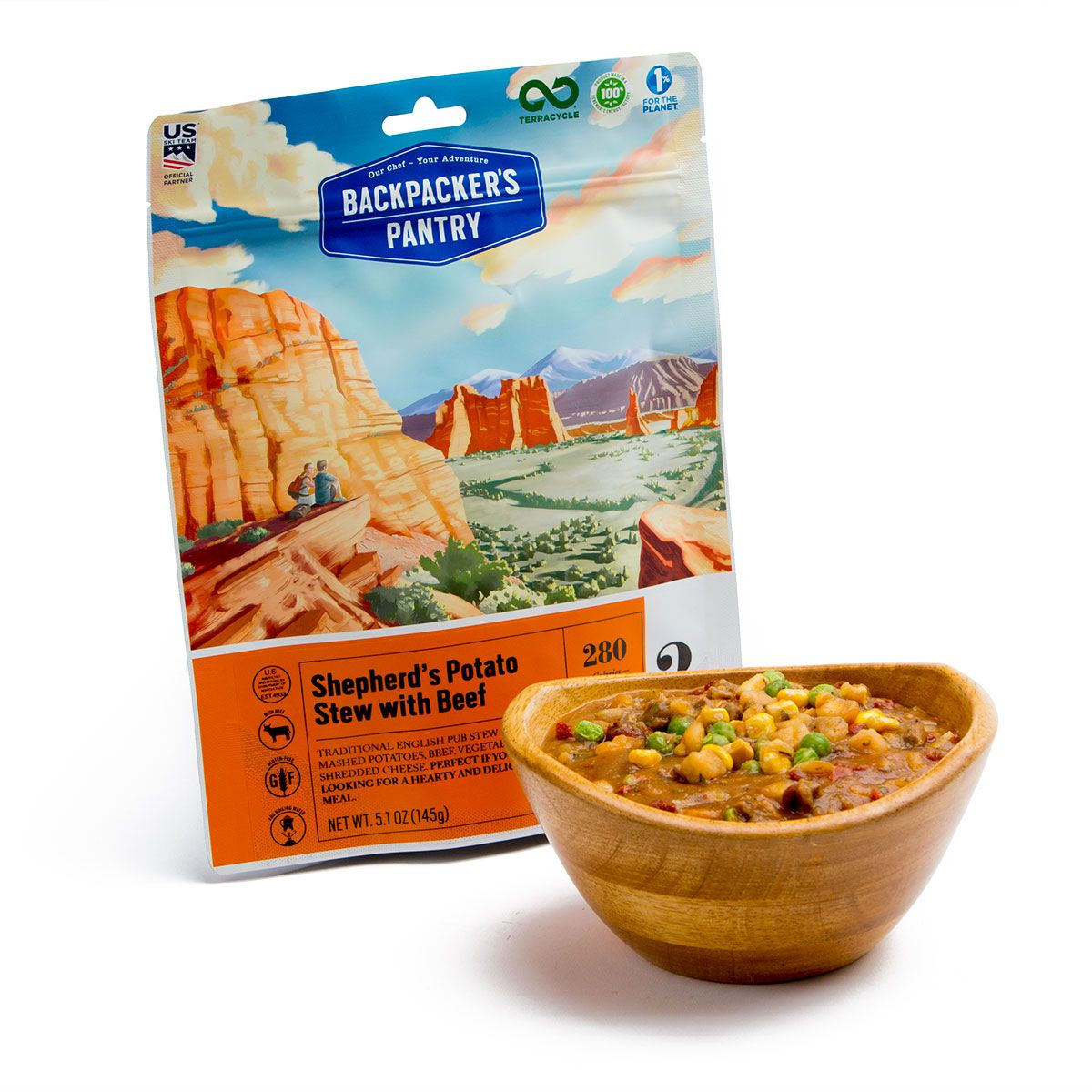 BP Shepherd's Potato Stew with Beef Pouch and bowl