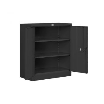 An open black heavy duty storage cabinet