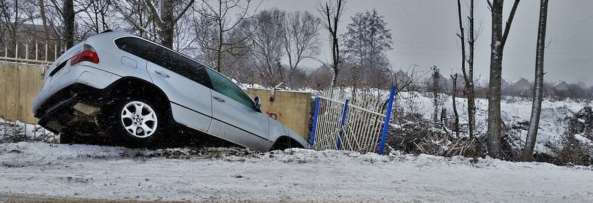 Car in ditch on a snowy day