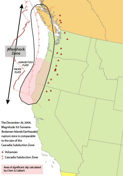 map showing the range of the last megathrust earthquake in the cascadia region