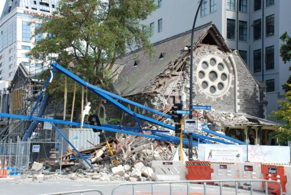 A destroyed building in Christchurch, New Zealand. Damaged in the 2011 earthquakes.