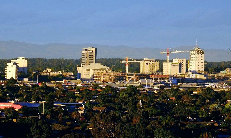A photograph of the Christchurch, NZ skyline.