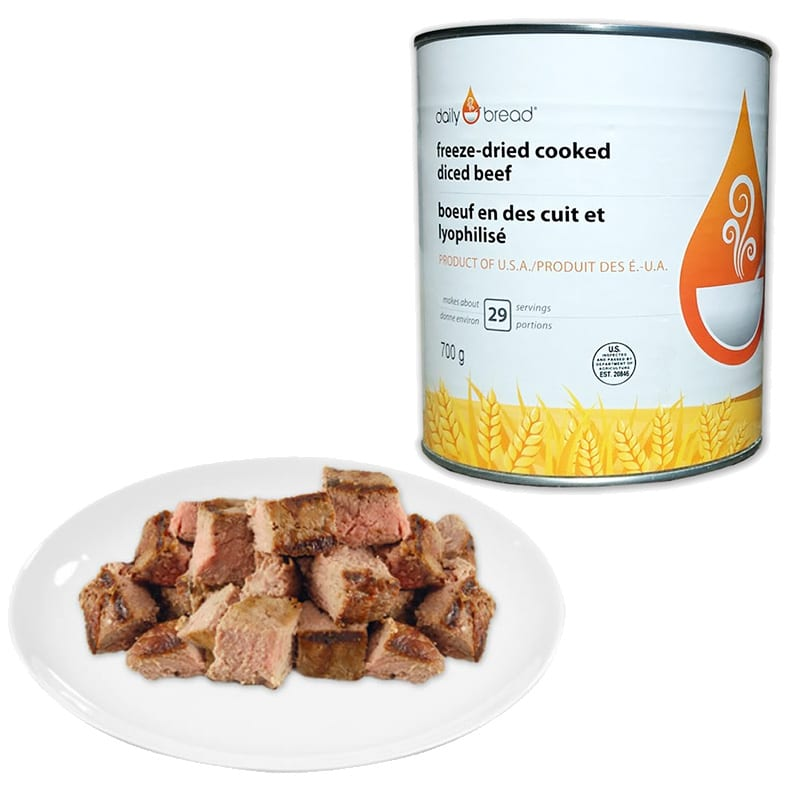 Yum! A plate of diced beef beside the #10 sized can of freeze dried meat.