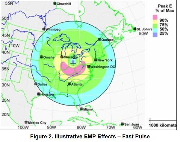 A map showing the proposed effected area if a major EMP strike was launched at the USA (Sorry! Couldn't find a Canadian one.)
