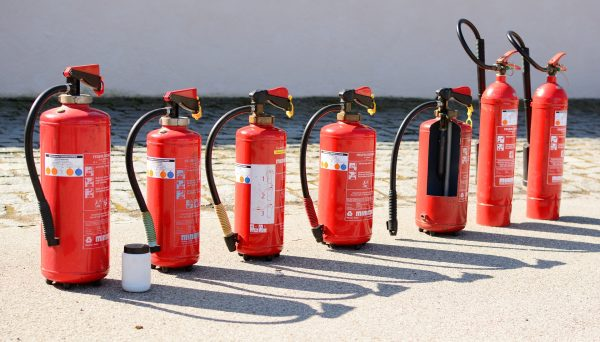 A variety of fire extinguishers