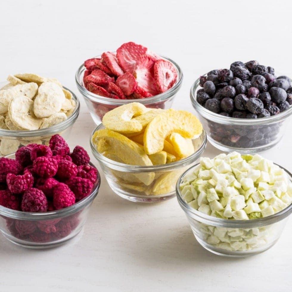 Raspberries, Bananas, Strawberries, Blueberries, and Peaches