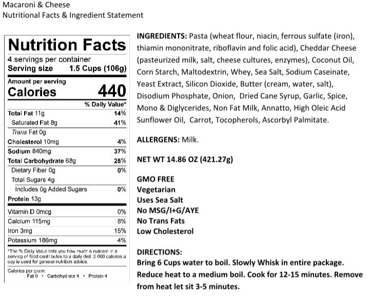 Legacy Macaroni and Cheese Nutrition Facts