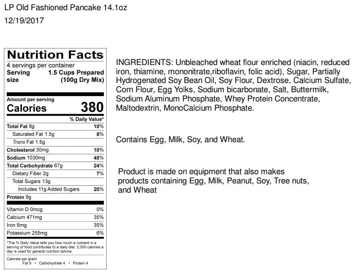 Legacy Pancakes Nutrition Facts