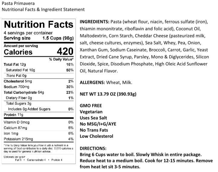 Legacy Pasta Prima Vera Nutrition Facts