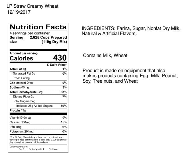 Legacy Strawberry Creamy Wheat Nutrition Facts