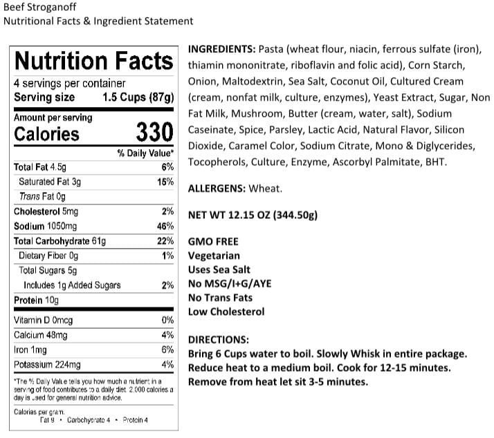 Legacy Stroganoff Nutrition Facts