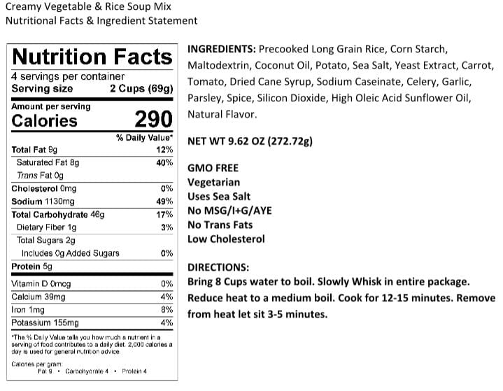 Legacy Veggie and Rice Soup Nutrition Facts