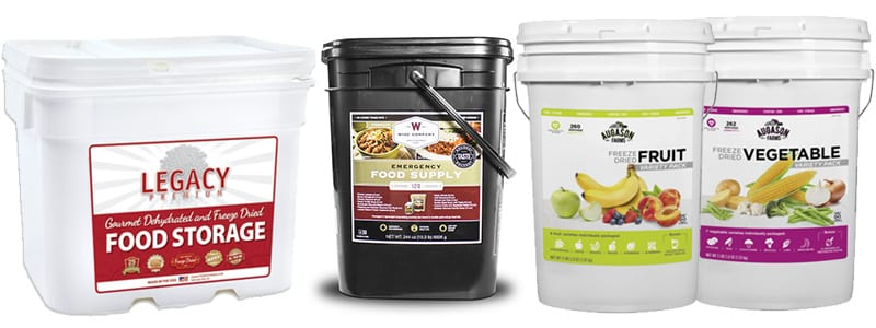 Legacy, Wise, and Augason Farms Freeze Dried Food Buckets