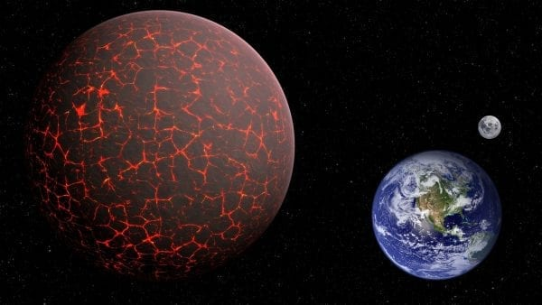A representation of what Nibiru / Planet X might look like compared to earth