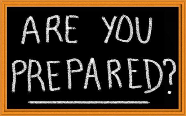 "Chalkboard saying ""Are you Prepared?"""