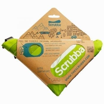 The Scrubba Wash Bag ships folded intoa compact and convenient triangle.