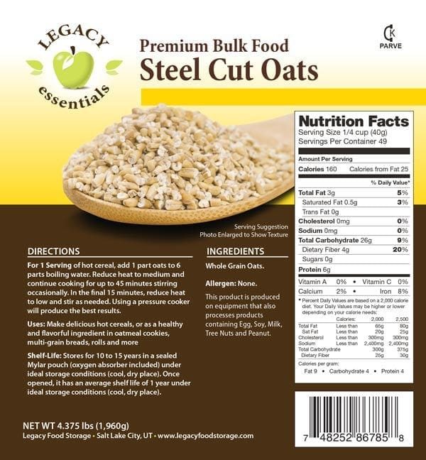 Steel Cut Oats Label