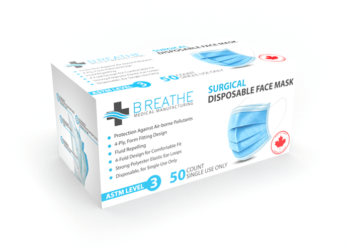 Surgical Disposable Face Mask – Made In Canada ASTM Level 3