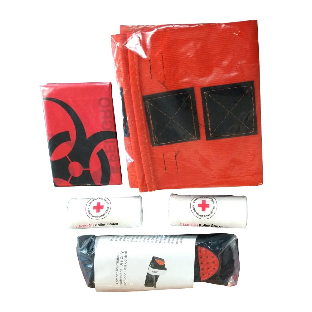 Items required to upgrade a pre-2018 Level 1 WCB Kit to a 2018+ version: Biohazard bag, windless tournequette, 2 roller gauze, and Quick Straps
