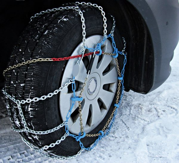 vehicle with snow chains on